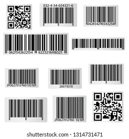 Barcode And Qr Code Sticker Collection. Vector