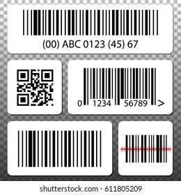Barcode and QR code stickers template set, collection on transparent background.