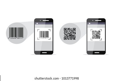 Barcode and QR-code scanning phones. Vector illustration.
