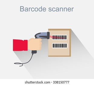 Barcode scanner icon design style. Barcode scanning, barcode reader, barcode scanner icon, reader for retail, data label, laser digital, identification scan information, scanning sale illustration