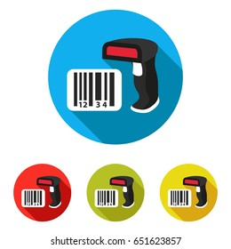 Barcode scanner icon with long shadow. Vector illustration