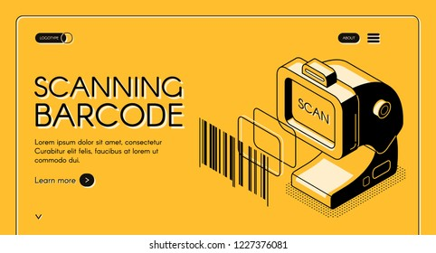 Barcode scanning equipment store web banner or site isometric vector with desktop barcode reader, stationary laser scanner, line art illustration. Business solutions for trade and inventory management