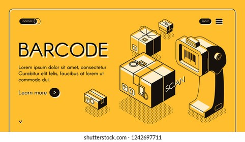 Barcode scanning web banner or site isometric vector with desktop barcode reader, stationary laser scanner and parcel or box, line art illustration. Business solutions for trade and inventory