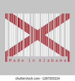 Barcode set the color of Alabama flag, The states of America,  Red St. Andrew's saltire in a field of white. text: Made in Alabama. concept of sale or business.