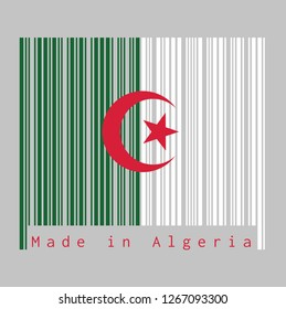 Barcode set the color of Algeria flag, green and white  with a red star and crescent on grey background with text: Made in Algeria. concept of sale or business.