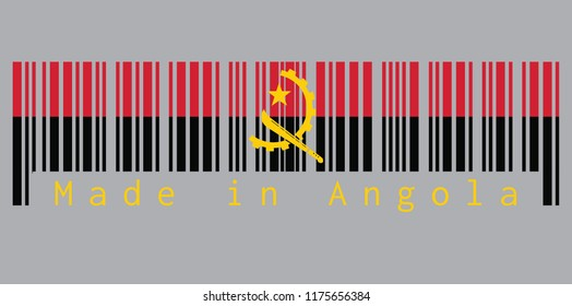 Barcode set the color of Angola flag, red and black with the Machete and Gear Emblem on grey background with text: Made in Angola. concept of sale or business.