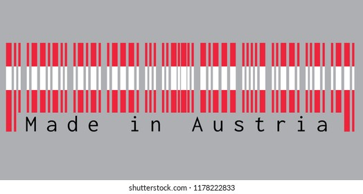 Barcode set the color of Austria flag,  red and white color with text: Made in Austria. concept of sale or business.
