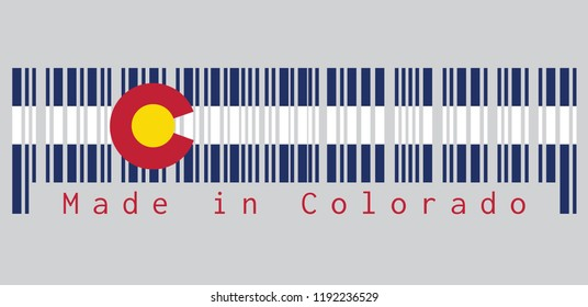 """Barcode set the color of Colorado flag, Three horizontal stripes of blue, white, and blue. On top of these stripes sits a circular red """"C"""", filled with a golden disk. text: Made in Colorado."""