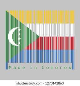 Barcode set the color of Comoros flag, yellow white red and blue with  green chevron, crescent and star. text: Made in Comoros. concept of sale or business.