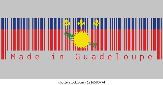 Barcode set the color of Guadeloupe Local flag, red field with yellow sun and green sugar cane, and a blue stripe with yellow fleurs-de-lis on the top. text: Made in Guadeloupe.