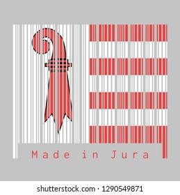 Barcode set the color of Jura flag, The canton of Switzerland with text Made in Jura. concept of sale or business.