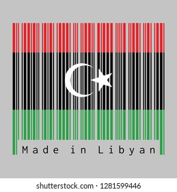 Barcode set the color of Libya flag, red black and green with a white crescent and star. text: Made in Libya. concept of sale or business.