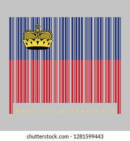 Barcode set the color of Liechtenstein flag, blue and red, charged with a gold crown. text: Made in Liechtenstein. concept of sale or business.