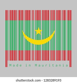Barcode set the color of Mauritania flag, Two red stripes flanking a green field with a golden crescent and star. text: Made in Mauritania. concept of sale or business.