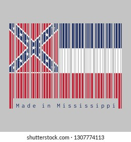 Barcode set the color of Mississippi flag, Three horizontal stripes of blue white and red. The canton is square, spans two stripes, consists of a red background with a blue saltire.