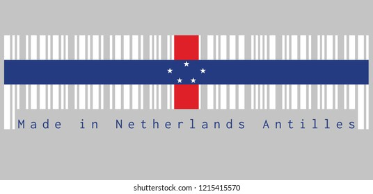 Barcode set the color of Netherlands Antilles flag, white with vertical red and horizontal blue and five white stars. text: Made in Netherlands Antilles, concept of sale or business.