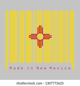 Barcode set the color of New Mexico flag, The red and yellow of old Spain. The ancient Zia Sun symbol in red on yellow, text: Made in New Mexico. concept of sale or business.