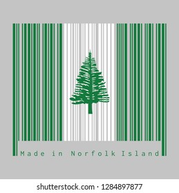 Barcode set the color of Norfolk flag, Norfolk Island Pine in a central white stripe between two green stripes. text: Made in Norfolk Island. concept of sale or business.