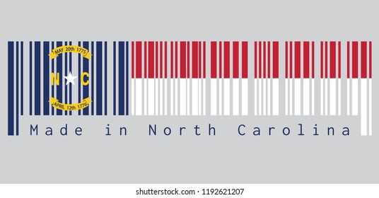 Barcode set the color of North Carolina flag, A blue union, a white star with N and C, the circle containing the same to be one-third the width of the union. text: Made in North Carolina.