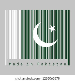 Barcode set the color of Pakistan flag, white star and crescent on a dark green field, with a vertical white stripe at the hoist. text: Made in Pakistan, concept of sale or business.