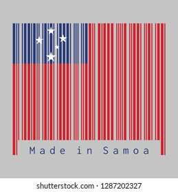 Barcode set the color of Samoa flag, A red field with the blue rectangle and white star. text: Made in Samoa, concept of sale or business.