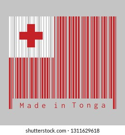 Barcode set the color of Tonga flag, A red field with the white rectangle on the upper hoist-side corner bearing the red Greek Cross. text: Made in Tonga, concept of sale or business.