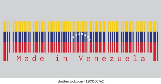 Barcode set the color of Venezuela flag, yellow blue and red with an arc of eight white stars centered on the blue band. text: Made in Venezuela. concept of sale or business.