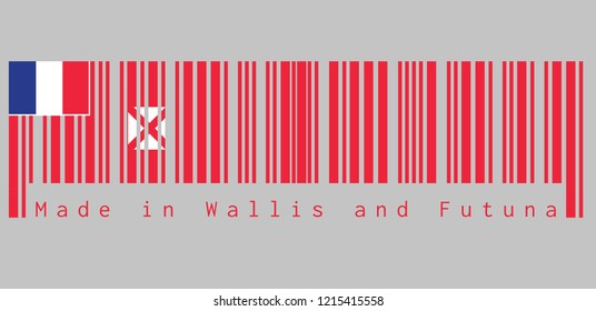 Barcode set the color of Wallis and Futuna flag, red saltire on a white square, the flag of France in the upper, text: Made in Wallis and Futuna, concept of sale or business.