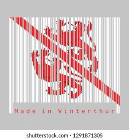 Barcode set the color of Winterthur flag, The canton of Switzerland with text Made in Winterthur. concept of sale or business.