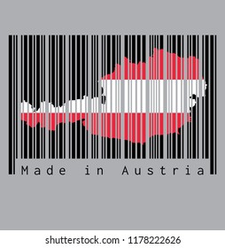 Barcode set the shape to Austria map outline on the black barcode with grey background, text: Made in Austria. concept of sale or business.