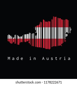 Barcode set the shape to Austria map outline on black background, text: Made in Austria. concept of sale or business.