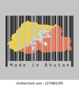 Barcode set the shape to Bhutan map outline and the color of Bhutan flag on black barcode with grey background, text: Made in Bhutan. concept of sale or business.