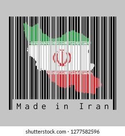 Barcode set the shape to Iran map outline and the color of Iran flag on black barcode with grey background, text: Made in Iran. concept of sale or business.