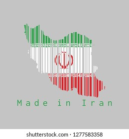 Barcode set the shape to Iran map outline and the color of Iran flag on grey background, text: Made in Iran. concept of sale or business.