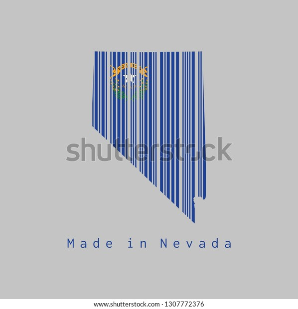 Barcode Set Shape Nevada Map Outline Stock Vector Royalty Free 1307772376