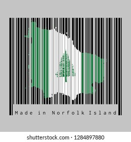 Barcode set the shape to Norfolk map outline and the color of Norfolk flag on black barcode with grey background, text: Made in Norfolk Island. concept of sale or business.