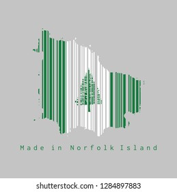 Barcode set the shape to Norfolk map outline and the color of Norfolk flag on grey background, text: Made in Norfolk Island. concept of sale or business.