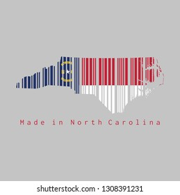 Barcode set the shape to North Carolina map outline and the color of North Carolina flag on grey background