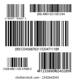 BarCode Set Vector. Universal Product Scan Code. Realistic bar code icon.