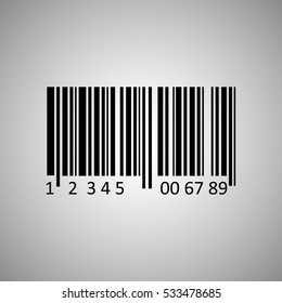 Bar-code sign template illustration on gray background