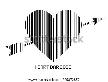 Barcode Style Heart Shape Arrow Amor Stock Vector Royalty Free