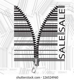 Barcode stylized as a zipper.