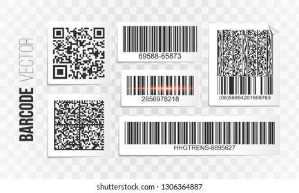 Barcode vector set. QR code templates. Bar code labels sticker for design.