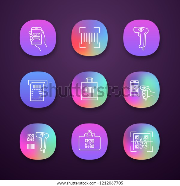Barcodes App Icons Set Smartphone Barcode Stock Vector