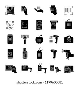 Barcodes glyph icons set. Linear, matrix bar codes. Barcodes reading, scanning apps and devices. Using QR codes in retail, inventory control, delivery. Silhouette symbols. Vector isolated illustration