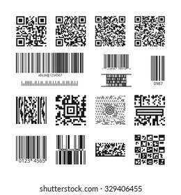 Barcodes and QR codes vector set. Technology and information data, square and bar, identification price illustration