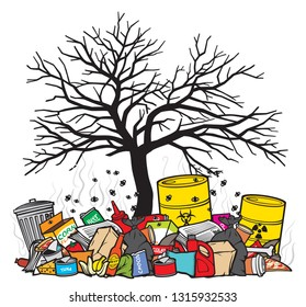 bare black tree without leaves and pile of garbage vector illustration - land pollution concept