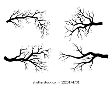 bare branch winter set  design isolated on white background