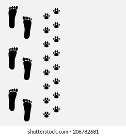 Bare foot print and paw print on the left. Vector illustration
