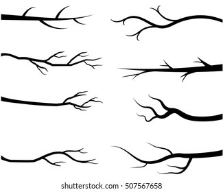 Bare tree branch silhouettes, Vector black branches without leaves